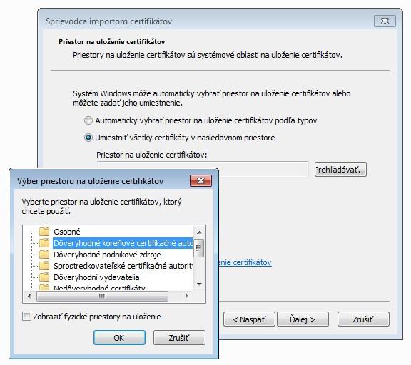 Inštalácia dôveryhodného certifikátu